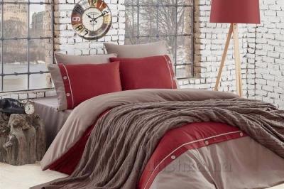 Евро комплект постельного белья  коллекции   Nirvana Salsa  Bordo с пледом (425)
