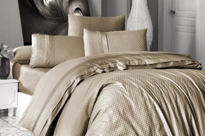 Евро комплект постельного белья Satin Deluxe  Badem (DLX-136)