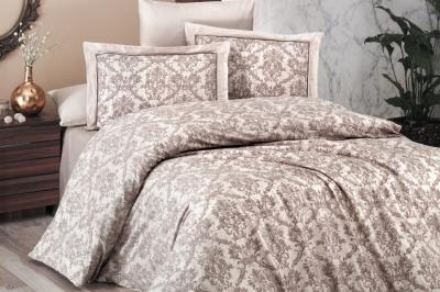 Полуторный  комплект постельного белья Satin DeluxeCatra Ekru (DLX-186)
