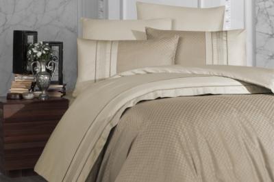 Евро комплект постельного белья Satin Deluxe   Kahve  (DLX-41)