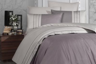 Евро комплект постельного белья Satin Deluxe  Square Duet LeylakA. Bej  (DLX-46 )