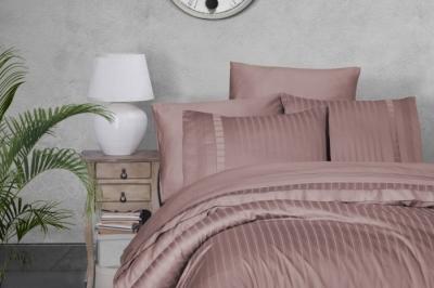Евро комплект постельного белья Satin Deluxe  Pudra  (DLX-56 )