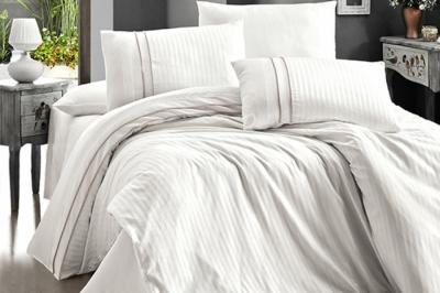 Евро комплект постельного белья Satin Deluxe  Krem (DLX-86 )